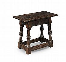 CHARLES II STYLE CARVED OAK JOINT STOOL LATE 19TH CENTURY 55cm wide, 47cm high, 28cm deep