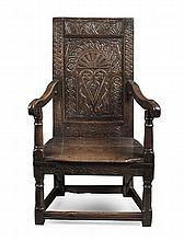 CHARLES II OAK WAINSCOT CHAIR YORKSHIRE, 17TH CENTURY 59cm wide, 100cm high