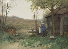 TONY LODEWIJK GEORGE OFFERMANS (DUTCH 1854-1911) OUTSIDE A COTTAGE DOOR 31cm x 43.5cm (12in x 17in)
