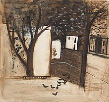 § ROBERT HENDERSON BLYTH R.S.A., R.S.W. (SCOTTISH 1919-1970) PIGEONS IN THE STREET 26cm x 25.5cm (10.5in x 10in)