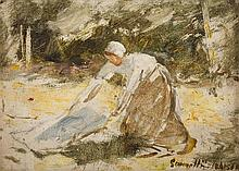 ROBERT GEMMELL HUTCHISON R.B.A., R.O.I., R.S.A., R.S.W. (SCOTTISH 1860-1936) WASHING DAY 12cm x 17cm (4.75in x 6.75in)
