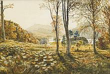 SAM BOUGH R.S.A. (SCOTTISH 1822-1878) VIEW OF A COUNTRY HOUSE SEEN THROUGH TREES 33cm x 51cm (13in x 20in)