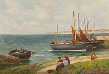 ALEXANDER YOUNG (SCOTTISH 1865-1923) UNLOADING THE CATCH ON THE FIFE COAST 51cm x 76cm (20in x 30in)