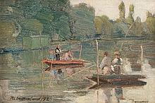 ROBERT LEWIS SUTHERLAND (SCOTTISH FL.1890-D.1932) SUNDAY AFTERNOON ON THE SURESNES 14cm x 21cm (5.5in x 8.25in)