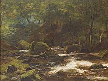 JAMES FAED SENIOR (SCOTTISH 1821-1911) A HIGHLAND RIVER IN SPATE 39.5cm x 52cm (15.5in x 20.5in)