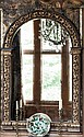ITALIAN POLYCHROME AND GILTWOOD WALL MIRROR 17TH CENTURY 95cm wide, 147cm high