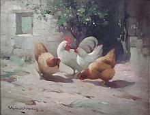 § ROBERT RUSSELL MCNEE (SCOTTISH 1880-1952) CHICKENS IN A FARMYARD 35cm x 45cm (13.75in x 17.75in)
