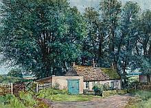 § JAMES MCINTOSH PATRICK R.S.A., R.O.I., R.G.I. (SCOTTISH 1907-1998) THE FARMYARD, SOUTH BALLUDERON 51cm x 71cm (20in x 28in)