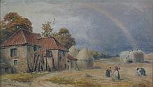 D. SANDERSON (19TH CENTURY BRITISH SCHOOL) HAYMAKERS 15cm x 26cm (6in x 10.25in)