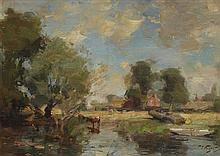 § WILLIAM MILLER FRAZER R.S.A. (SCOTTISH 1864-1961) BY THE RIVER 25.5cm x 35.5cm (10in x 14in)