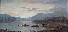 FOLLOWER OF HORATIO MCCULLOCH R.S.A. (SCOTTISH 1805-1867) SAILING BOATS AT SUNSET 15cm x 32cm (6in x 12.5in)