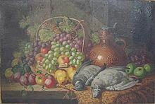 CHARLES THOMAS BALE (BRITISH 1849-1925) STILL LIFE OF PIGEONS, GRAPES AND JUG 49.5cm 74.5cm (19.5in x 29.25in) and a similar work by...