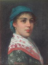 § VITTORIO TESSARI (ITALIAN 1860-1947) AN ITALIAN GIRL 24cm x 18.5cm (9.5in x 7.25in)