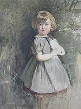 † WILLIAM MCTAGGART R.S.A., R.S.W. (SCOTTISH 1835-1910) SKETCH OF A LITTLE GIRL IN A GARDEN 28cm x 21cm (11in x 8.25in)