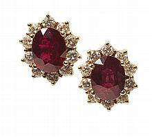 A pair of ruby and diamond set earrings Length of cluster: 13mm, estimated total gem weights: ruby 3.39cts, diamond 0.97cts