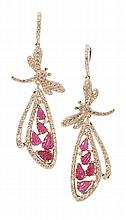 A pair of ruby and diamond set earrings Length: 60mm, estimated total gem weights: diamond 1.78cts, ruby 3.11cts