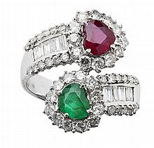 A contemporary diamond, ruby and emerald ring Ring size: M, estimated total gem weights: ruby 0.66cts, emerald 0.41cts