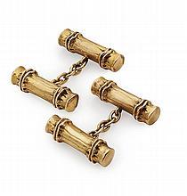 HERMES - A pair of gold cufflinks Head: 21mm