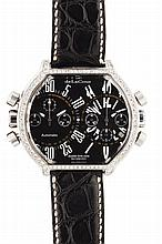 DE LA COUR - A dual time gentleman's diamond set wrist watch Case width: 51mm