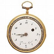 TERROT GENEVE - An 18th century gold, enamel and gem set pocket watch Dial diameter: 46mm