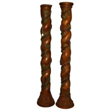 Pair 19th c. carved and polychrome wood columns. H: 86