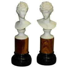 Pair of Classical miniatue marble portrait busts