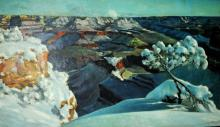 j. Sanpedro, 1960, Winter Mountain Scene, oil on