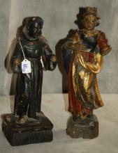 Two 19th c. carved and polychrome Santos figures.