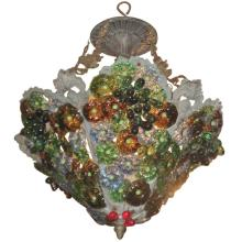 Italian Murano color glass basket form chandelier. H: