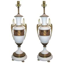 Pair of French bronze mounted bisque lamps. H: 35