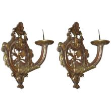 Pair of 18th c. Italian carved silver gilt wall