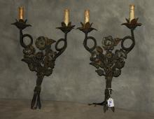 Pair of iron 2-light wall sconces. H: 19.5