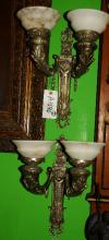 Pair of silvered bronze and alabaster wall sconces. H: