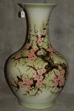 Chinese export celadon porcelain vase with caligraphy
