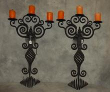 Large pair of 19th c. Continental iron 3-light wall