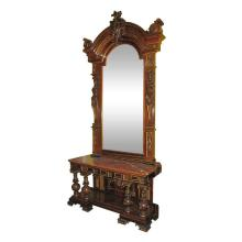 Large 19th c. Spanish carved walunt pier mirror and