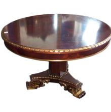 English mahogany and partial gilt center table. H: 31
