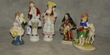 Five porcelain figures by various makers. Tallest: 8.5
