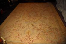 Aubusson style wool rug. 12' x 8' 8