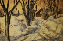 Esther Bollinger, Am. 20th c. Winter Landscape, signed