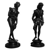 Large pair of 19th c. bronze figural sculptures, signed