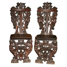 Pair of 19th c. Italian carved hall chairs. H: 45