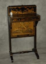 Black laquer Chinoserie decorated fire screen table.