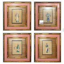 Four Chinese silk embroidered framed figural panels.