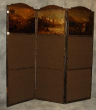 Antique Continental painted leather three panel folding