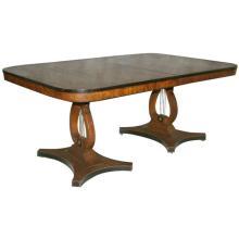 Regency style mahogany double lyre-form pedestal dining