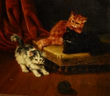 A. Lambrashon, 20th c. Playful Kittens, signed lower