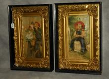 Pair of antique oils on canvas in shadow box frames.