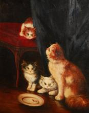 A. Fremond, 20th c. Cat and Kittens, signed lower left,