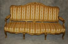 19th c. Louis XV style carved gilt-wood settee. H: 44